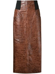 Kitx Maxi Leather Skirt Brown