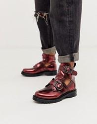 Bronx Cut Out Chunky Ankle Boots In Red