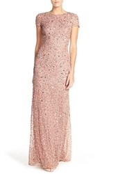 Adrianna Papell Women's Short Sleeve Sequin Mesh Gown Antique Rose