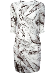Helmut Lang Marble Print Fitted Dress Grey