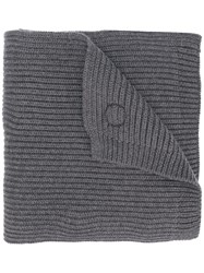 Dsquared2 Ribbed Maple Logo Scarf Men Wool One Size Grey
