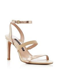 French Connection Lilly Metallic Strappy High Heel Sandals Sand Gold Palm Sands