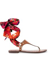Sam Edelman Giliana Leather And Printed Satin Sandals Tan