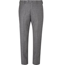 Loro Piana Grey Slim Fit Puppytooth Wool And Cashmere Blend Trousers Gray