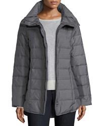 Eileen Fisher Melange Quilted Down Jacket Ash
