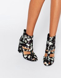 Lost Ink Denny Floral Cut Out Heeled Ankle Boots Multi