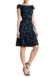 Nue By Shani Laser Cut Crepe Fit And Flare Dress Blue