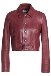 Red Valentino Buckled Leather Jacket Burgundy