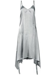 Moohong Embroidered Detail Asymmetrical Dress Grey