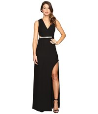 Halston High Slit With Multi Chain Strap Black Women's Dress