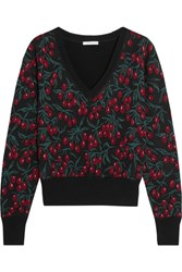Chloe Wool Blend Jacquard Sweater Black