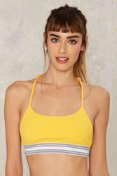 First Base '90S Ribbed Bralette Yellow