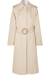 Joseph Carbon Hooded Cotton Garbardine Trench Coat Beige