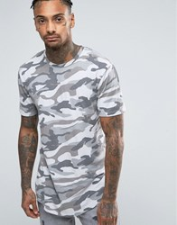 Only And Sons Longline T Shirt With Curved Hem In Camo Griffin Camo Grey