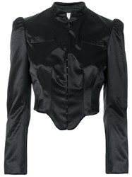 Romeo Gigli Vintage Structured Cropped Jacket Black