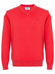 Thomas Pink Horseley V Neck Jumper Deep