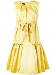 Rochas Pleated Trim Flared Dress Yellow Orange