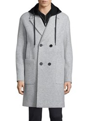 Plac Retro Spectrum Chesterfield Double Breasted Wool Blend Coat Light Grey