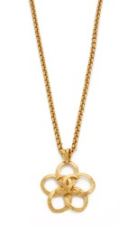 Wgaca Chanel Cc Cutout Flower Necklace Previously Owned Gold