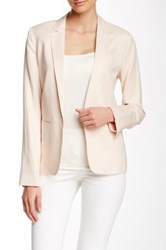 Dex Notch Collar Linen Blend Blazer Pink