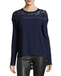 Elie Tahari Leena Lace Back Merino Sweater Navy