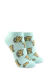 Forever 21 Lion Cub Print Ankle Socks Mint Multi