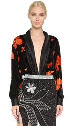 Rodarte Velvet And Silk Draped Blouse Black