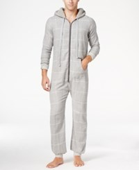 Kenneth Cole Reaction Men's Plaid Flannel Pajama Jumpsuit Grey