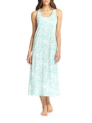 Cottonista Printed Cotton Jersey Gown Aqua