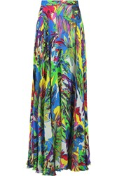 Milly Printed Silk Chiffon Maxi Skirt Blue