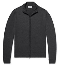 John Smedley Claygate Merino Wool Zip Up Cardigan Charcoal
