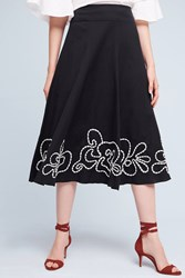 Anthropologie Floral Hem Midi Skirt Black Motif