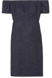 Lela Rose Off The Shoulder Sequin Embellished Tweed Dress Navy