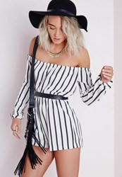 Missguided Petite Striped Bardot Playsuit White