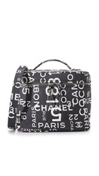 Wgaca Chanel Canvas Vanity Bag Previously Owned Black White