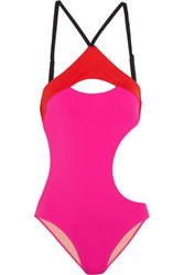 Agent Provocateur L'agent By Alenya Cutout Color Block Swimsuit Fuchsia