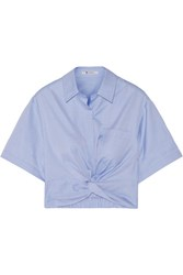 Alexander Wang T By Cropped Knotted Cotton Twill Shirt Blue