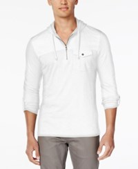 Inc International Concepts Men's Moto Travel Long Sleeve Hoodie Shirt Only At Macy's White Pure