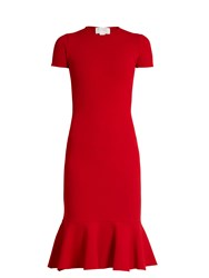 Esteban Cortazar Cut Out Back Crepe Jersey Dress Red