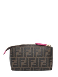 Fendi Logo Printed Coated Canvas Make Up Bag Brown Fuchsia