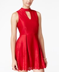 Speechless Juniors' Laser Cutout Scuba Fit And Flare Dress Red