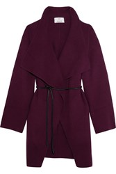 Allude Belted Wool And Cashmere Blend Cardigan Grape
