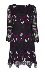 Karen Millen Floral Lace Mini Dress Multicolour