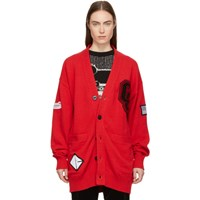 Opening Ceremony Red Long Varsity Cardigan