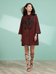 Shanghai Tang Lacquered Jacquard Coat With Embroidery Burgundy