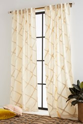 Anthropologie Embroidered Berea Curtain Cream