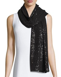 Sequined Cashmere Scarf Black Donna Karan