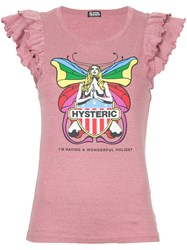 Hysteric Glamour Frill Sleeve Butterfly T Shirt Pink And Purple