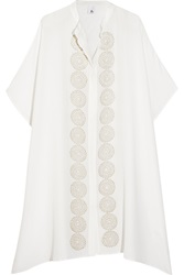 Iris And Ink Melia Embroidered Washed Silk Kaftan White
