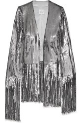 Galvan Stardust Fringed Sequined Tulle Jacket Silver